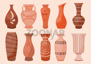 Ceramic Vases set, modern flat style. Antique Pottery classic pot and bowl. Handmade decorated ceramic vase and jar. Vector illustration