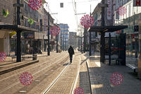 deserted city center with corona viruses, symbolic photo, corona crisis, March 2020, Witten, Germany