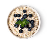 prepared oatmeal with blueberries
