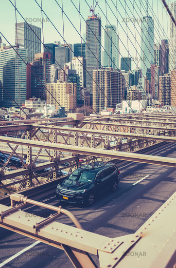 Traffic On Brooklyn Bridge, NYC
