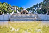 Vienna. Schonbrunn Palace garden and Neptune fountain view,