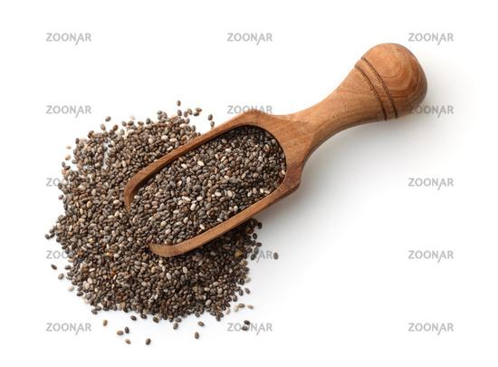 Top view of chia seeds in wooden scoop