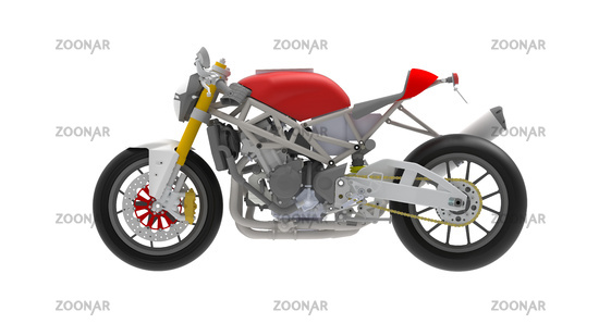 3D rendering of motorcycle race bike motor bike technical machine engineering model computer model on white background