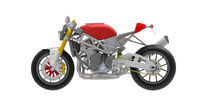 3D rendering of motorcycle race bike motor bike technical machine engineering model computer model on white background