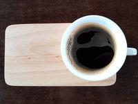 Black Coffee On Wooden Table Horizontal Shot