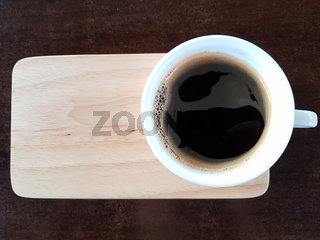 Black Coffee On Wooden Table Horizontal Shot