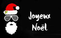 Santa Claus Paper Mask, Black Background, Joyeux Noel Means Merry Christmas