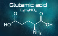 Chemical formula of Glutamic acid on a futuristic background