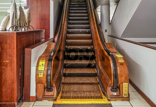 The 125 years old wooden escalator in a shopping center of New York.