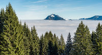Mountain stick out of foggy cloud layer. Sea of clouds. Gruenten, Allgau, Germany.