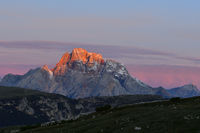 Dolomites with alpenglow
