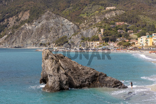 MONTEROSSO, LIGURIA/ITALY  - APRIL 22 : View of the coastline at Monterosso Liguria Italy on April 22, 2019. Unidentified people