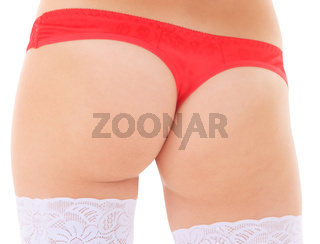 Beautiful female body back ass isolated on white