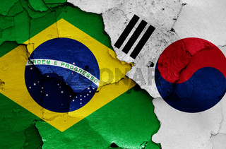 flags of Brazil and South Korea painted on cracked wall