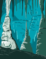 Carlsbad Caverns National Park in Guadalupe Mountains New Mexico United States WPA Poster Art Color