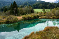View of a small mountain lake in Slovenia.
