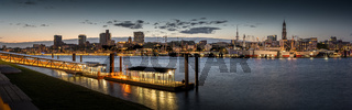 Panorama from the skyline of Hamburg in the evening