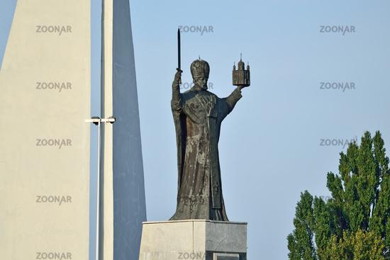 Kaliningrad, Russia - september 30, 2020: Monument to St Nicholas The Wonderworker. Symbol of Kaliningrad