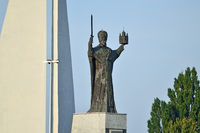 Kaliningrad, Russia - september 30, 2020: Monument to St Nicholas The Wonderworker. Symbol of Kaliningrad