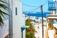 Mykonos town in Greece.