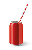 Red drink cans on white