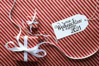 Three Gifts, Wrapping Paper, Label Glueckliches 2021 Means Happy 2021