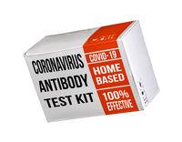 Mockup of a coronavirus immunity home test kit in cardboard box