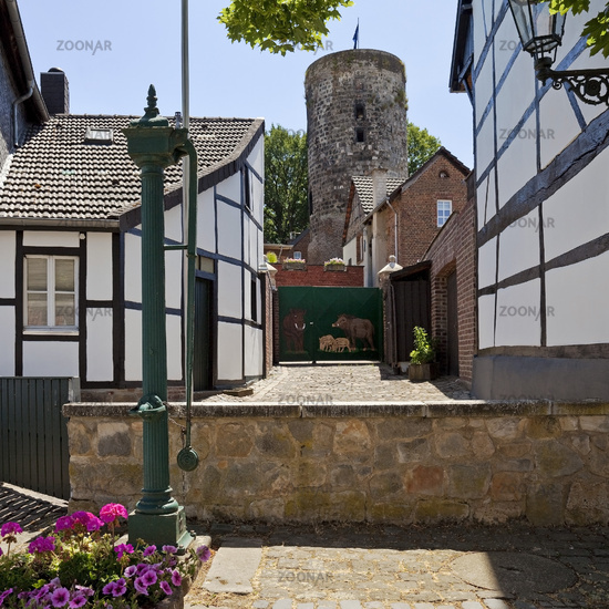 Half-timbered houses with mill tower, Liedberg, Korschenbroich, Lower Rhine, Germany, Europe