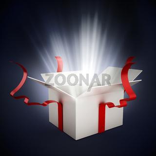 Open giftbox on dark background