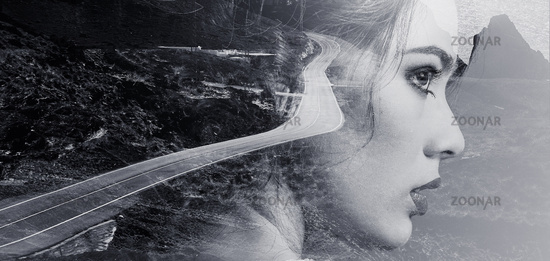 Woman face and mountain road Black and white double exposure photo
