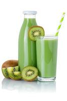 Kiwi green smoothie fruit juice drink kiwis glass and bottle isolated on white