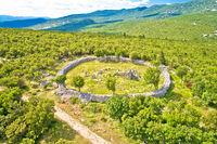 Circular cemetery historic landmark in Ledenice village aerial view