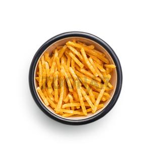French fries. Fried mini potato sticks in bowl.