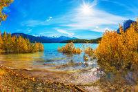 Autumn lake flood
