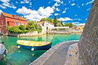 Zadar. Historic Fosa harbor bay in Zadar boats and architecture colorful view