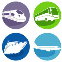 Travel by bus, express train, cruise ship and plane, tourist transport