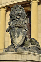 Kaliningrad, Russia - september 30, 2020: Sculpture of a lion on the porch of Koenigsberg Stock exchange. Kaliningrad, Kenigsberg before 1946, Russia