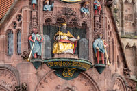Close-up of holy figures and other details from the Frauenkirche (woman church) in Nuremberg, Bavaria, Germany