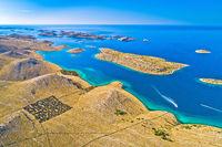 Kornati islands national park. Unique stone desert islands in Mediterranean archipelago
