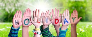 Children Hands Building Word Holiday, Grass Meadow