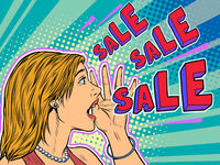 Sale pop art woman announcement