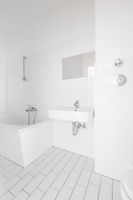 tiled, white bathroom, modern bath with bathtub