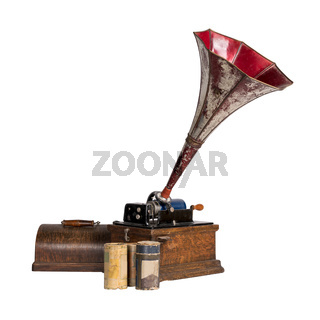 Cut out Old phonograph with three cylinder records, includes clipping path