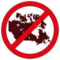 Canada silhouette with the word virus in prohibitory sign