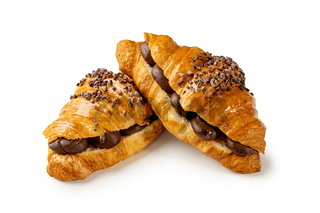 Chocolate croissants on a white background