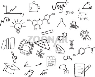 Set of education concept icons in hand draw style