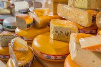 Rotterdam, Netherlands - April 26, 2017: Cheese shop on market Markthal in Rotterdam