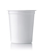 Front view of blank dairy plastic cup