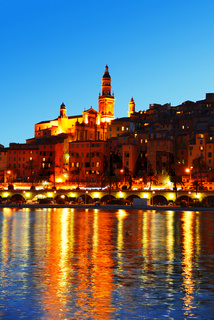 City of Menton by night. French Riviera.