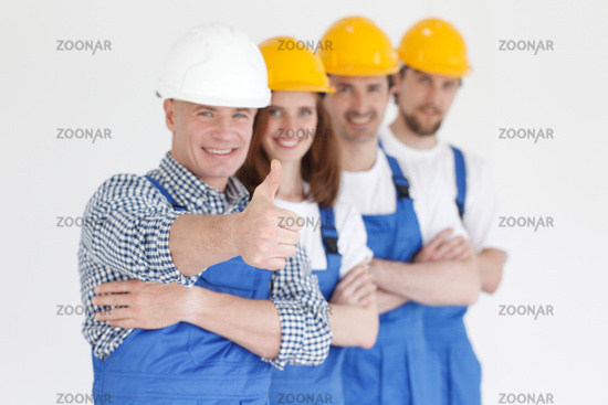 Team of happy workers